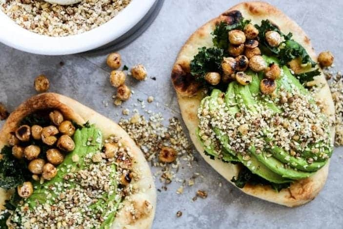 Avocado Naan Toasts with Dukkah & Pan-Fried Chickpeas