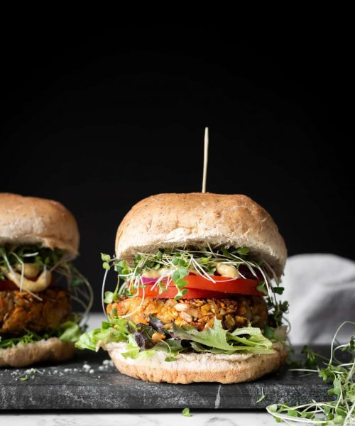 veggie burger from the side