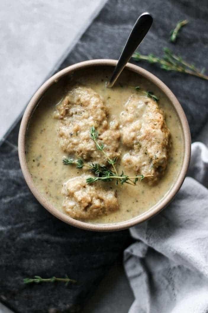 Creamy Mushroom and Dumplings Soup