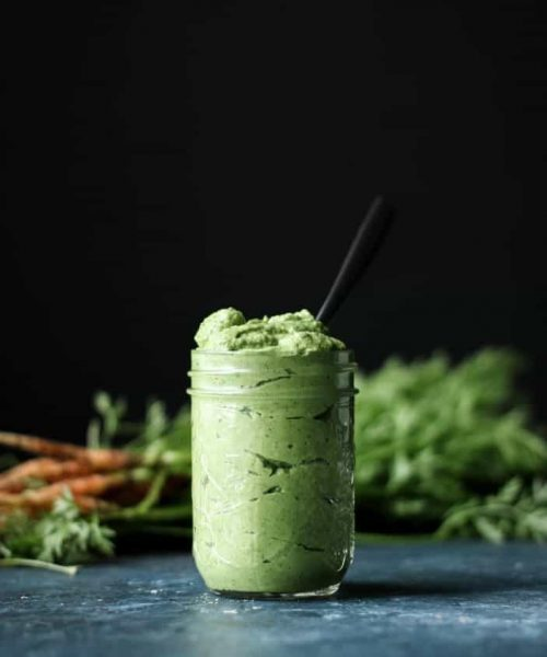 Creamy Carrot Top Avocado Sauce