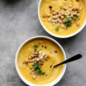 Curried Roasted Carrot & Cauliflower Soup