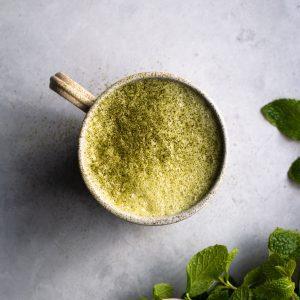 mint matcha latte with mint leaves