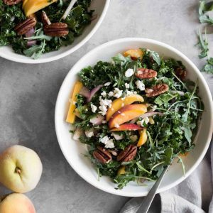 Sweet Peach Kale Salad with Feta & Toasted Pecans