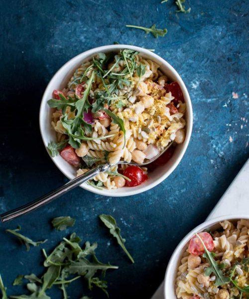 Vegan Chickpea Pasta Salad with Tahini Dressing
