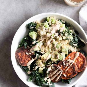 Nourishing Protein Quinoa Bowl from the top