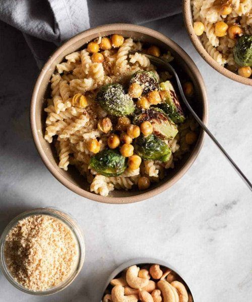 Creamy Hummus Pasta with Roasted Brussels Sprouts