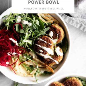 beet falafel power bowl pin