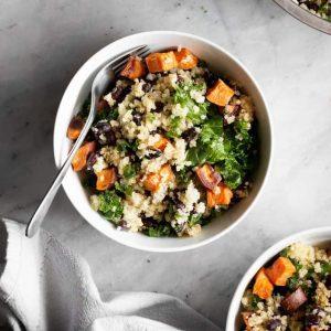 Sweet Potato Kale & Black Bean Quinoa Salad