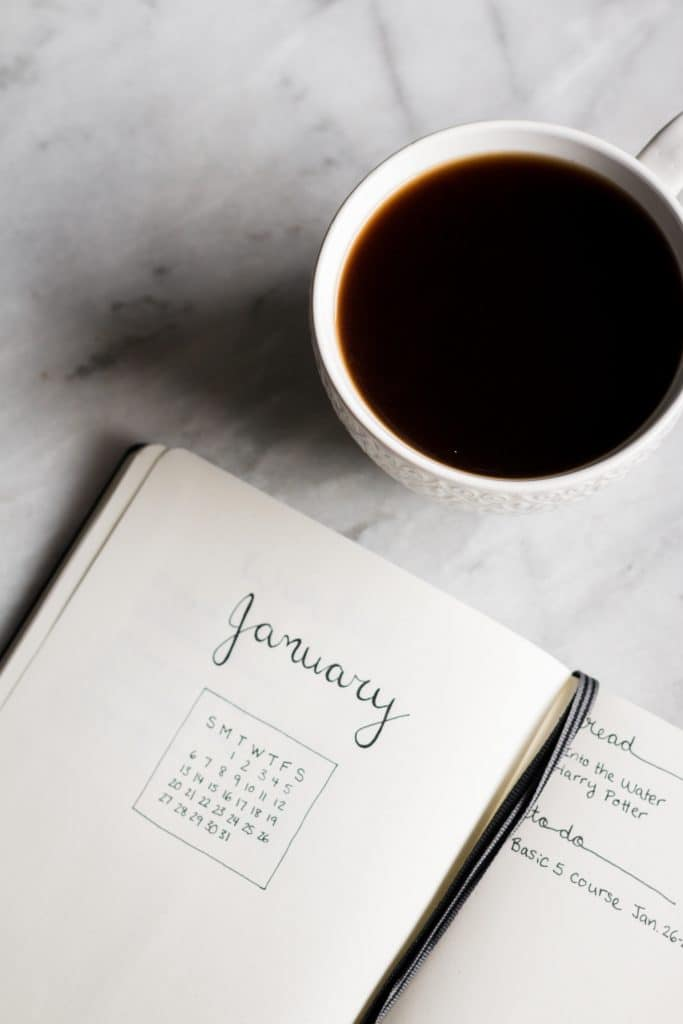 New Year's Resolutions that Aren't Dieting - coffee and journal