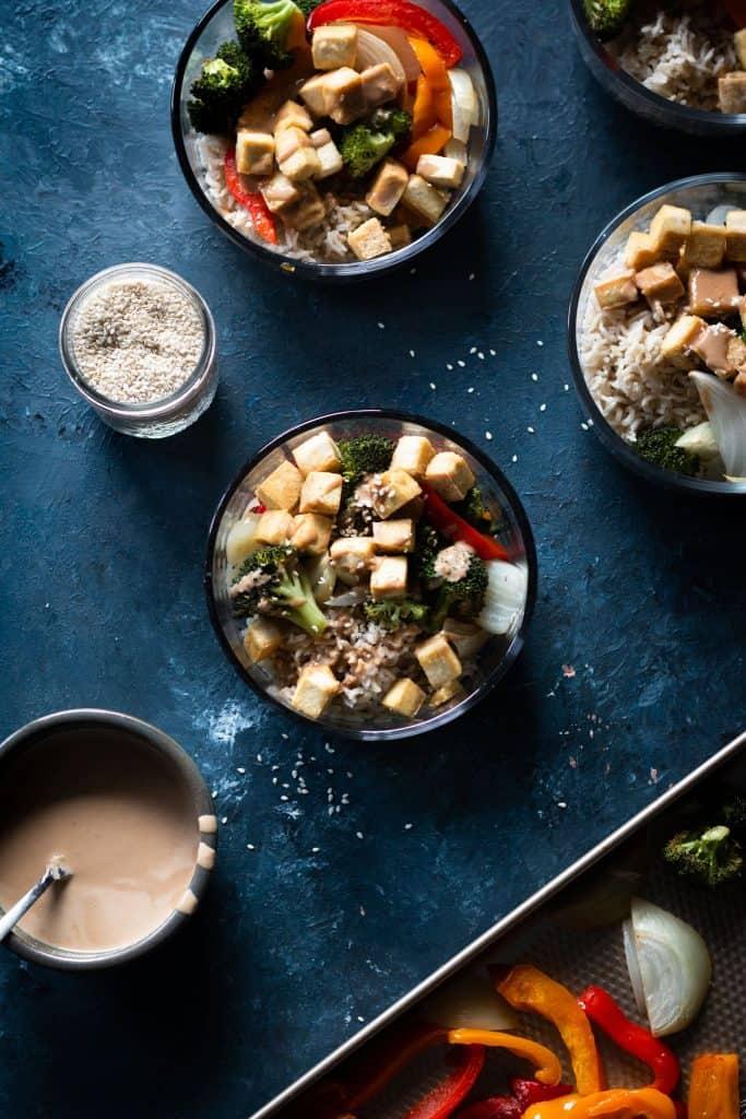 Meal Prep Sesame Tofu Bowls