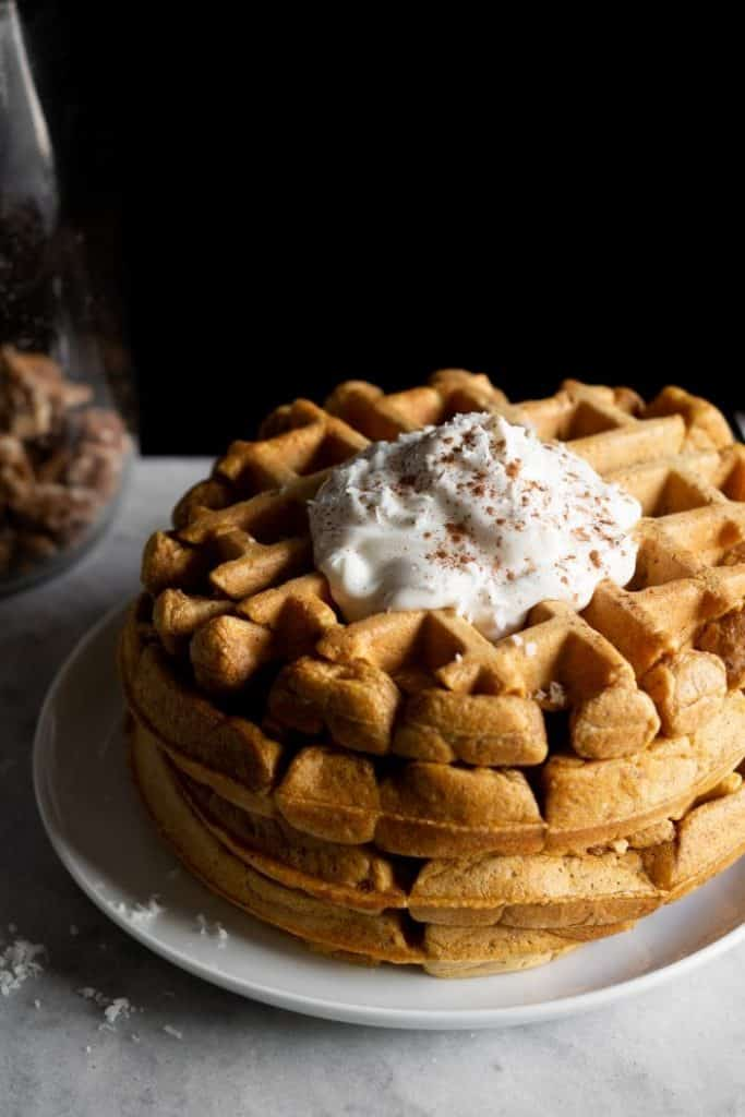 pumpkin waffles with cream
