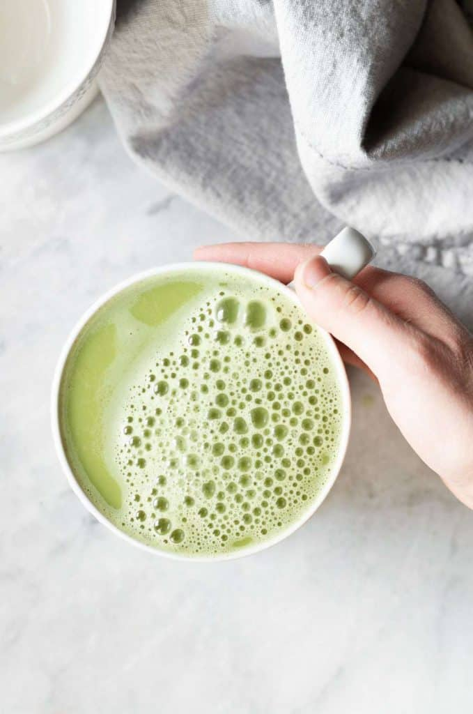coconut blender matcha in a cup