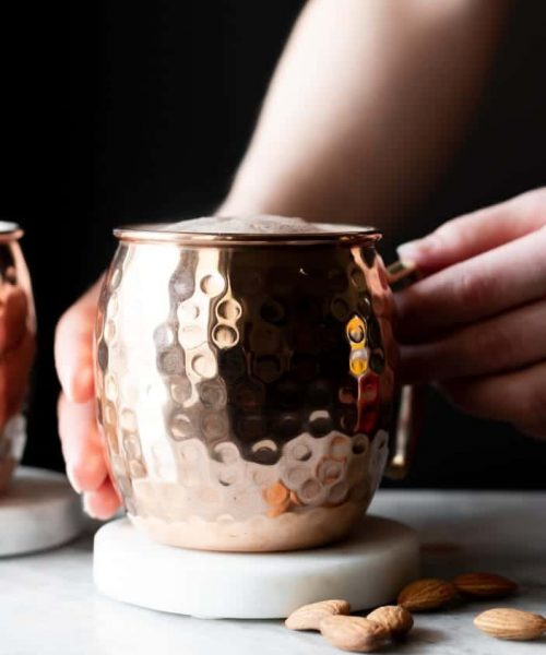 copper cup with hot chocolate