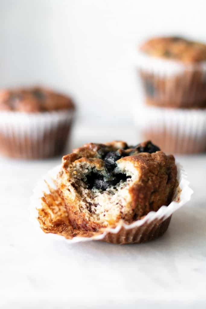 almond blueberry muffin with bite