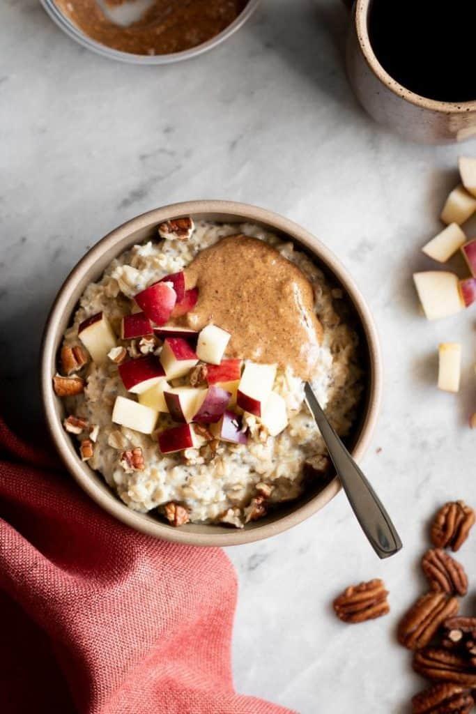 apple oatmeal in bowl