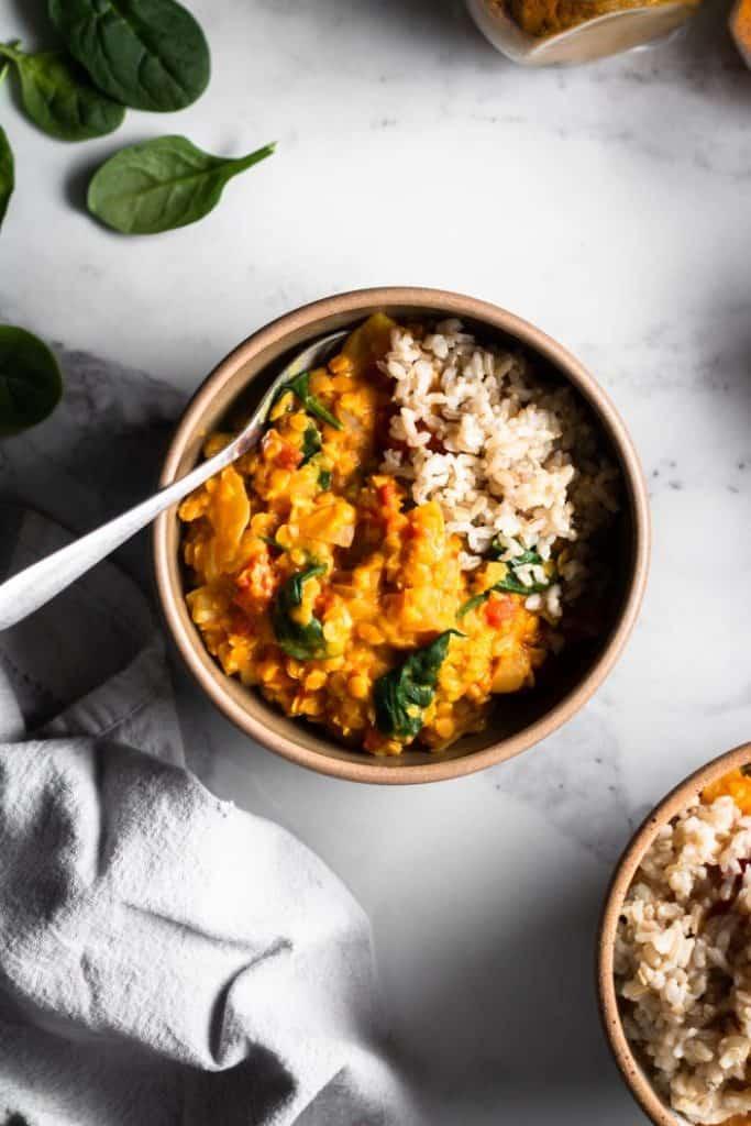 lentil curry in bowl