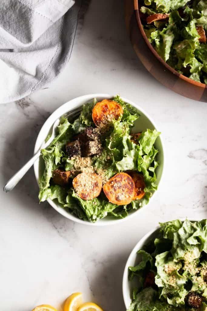Vegan Caesar Salad with Tempeh & Sweet Potatoes