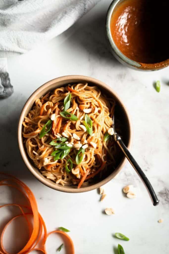 peanut ramen noodles in a bowl