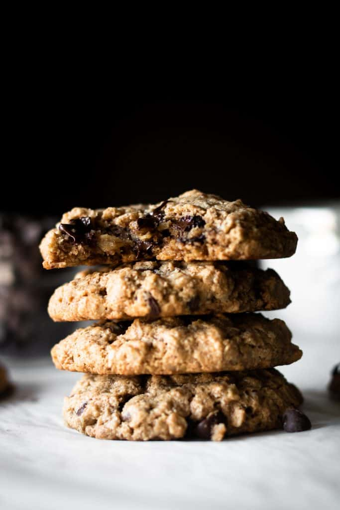 oatmeal chocolate chip cookies with bite