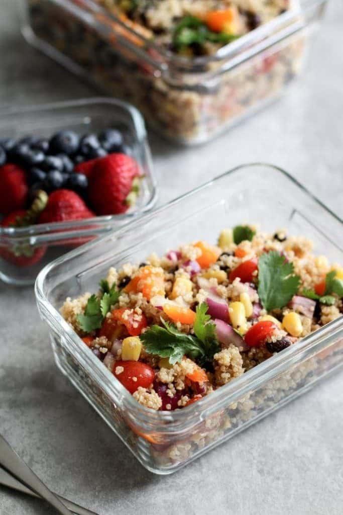 quinoa salad in containers