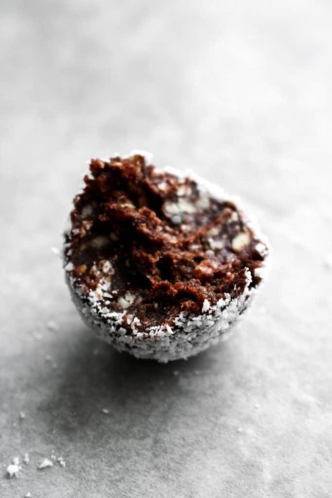 chocolate coconut truffles with bite taken