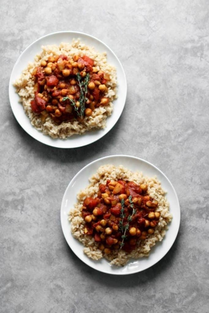 basic spiced chickpea stew on plate