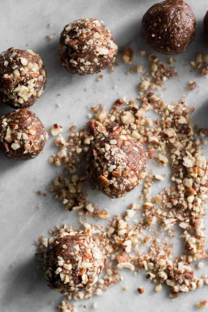 date bites rolled in chopped pecans