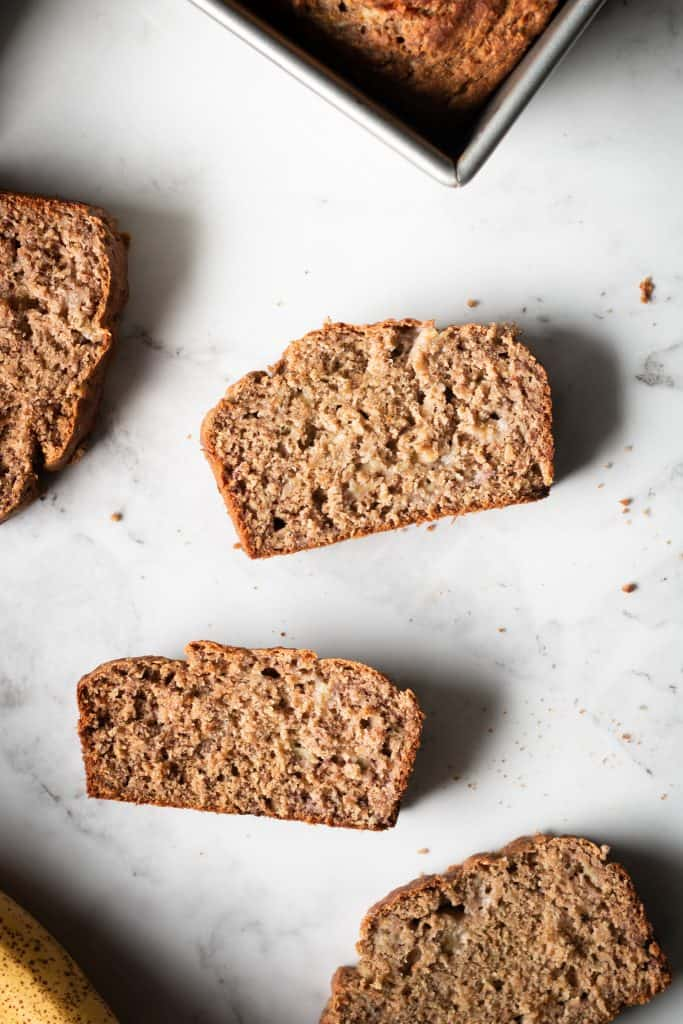 banana bread slices from the top