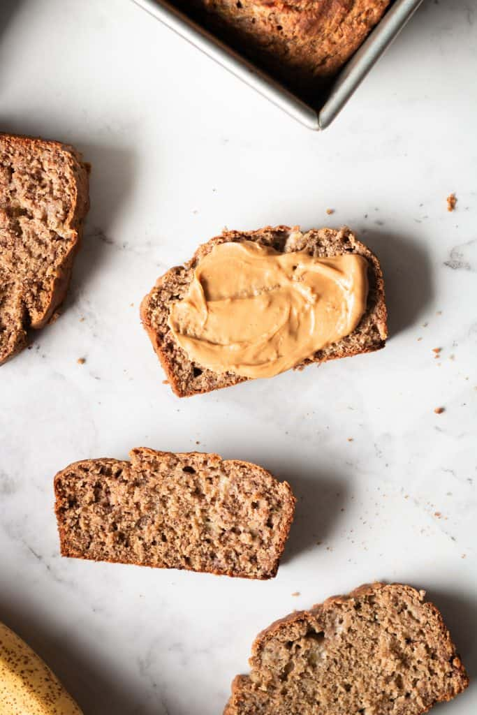 banana bread slices with peanut butter