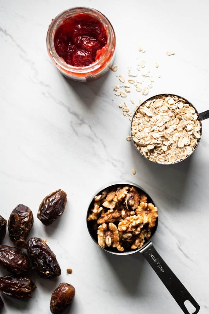 dates, walnuts, oats and jam