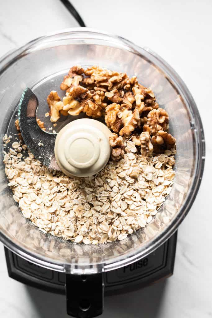 oats and walnuts in a food processor