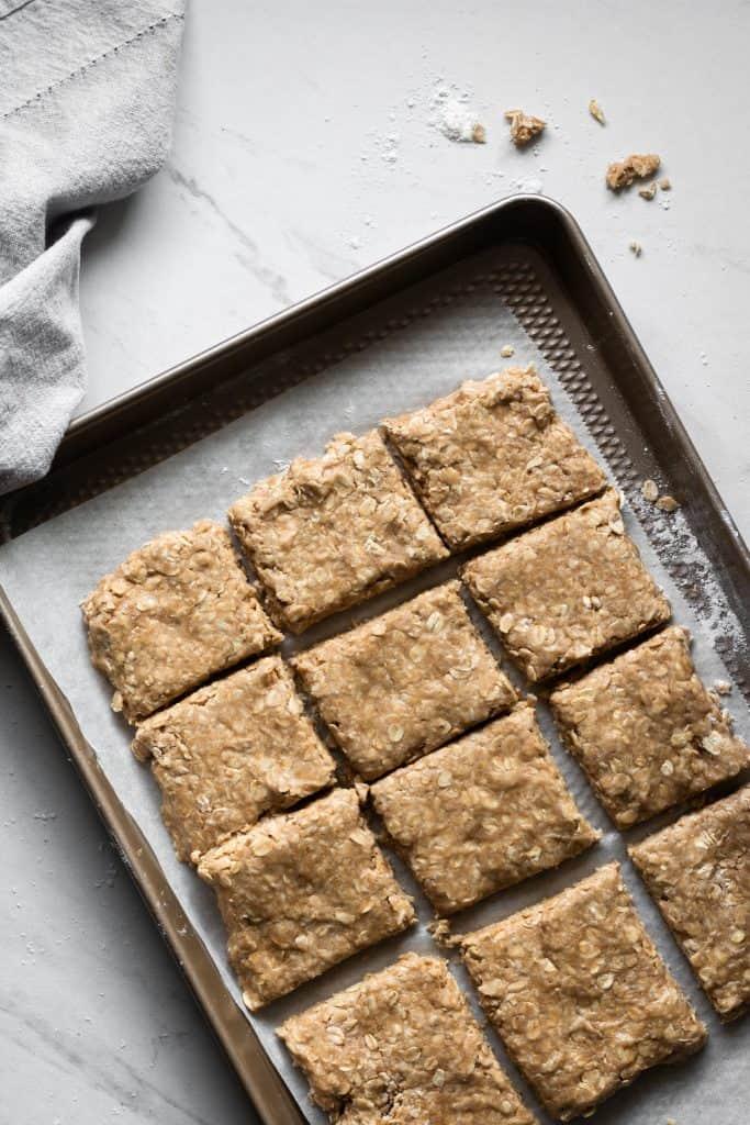 oatcake uncooked on baking sheet