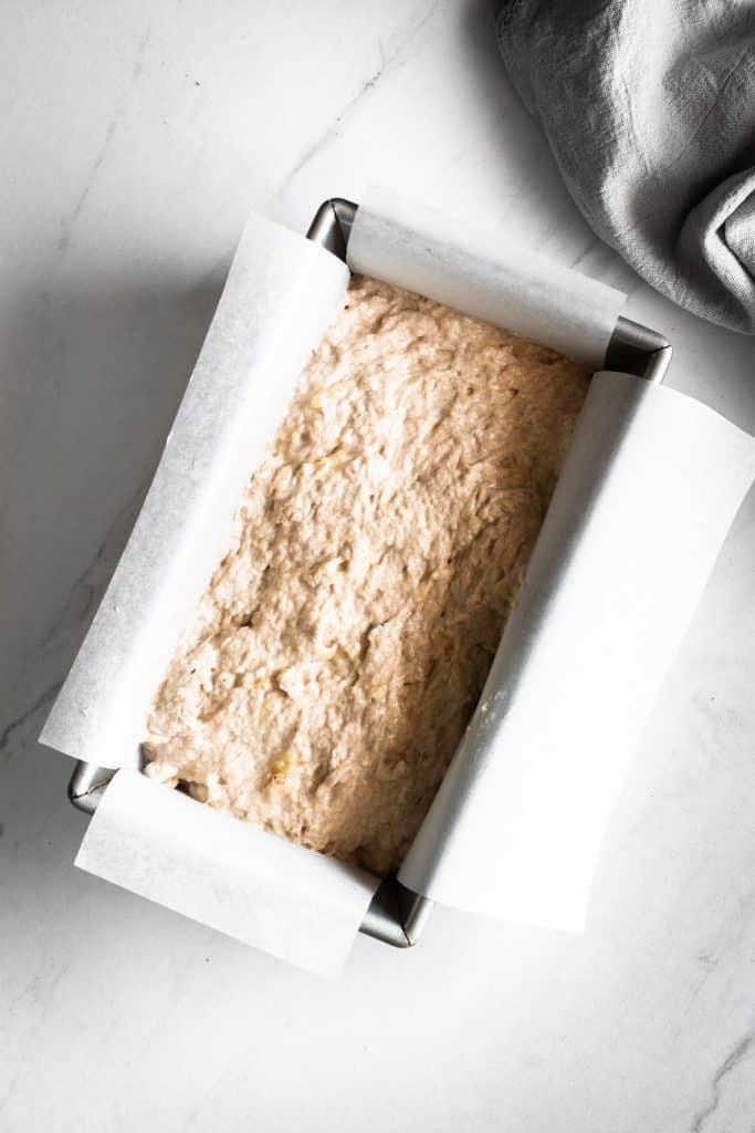 banana bread mixture in loaf pan