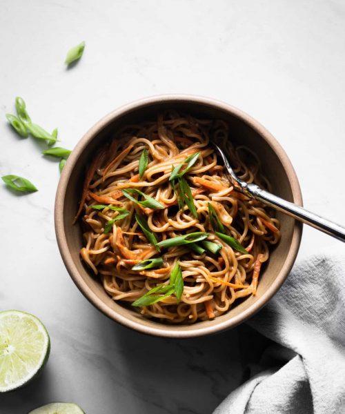peanut noodles in a bowl