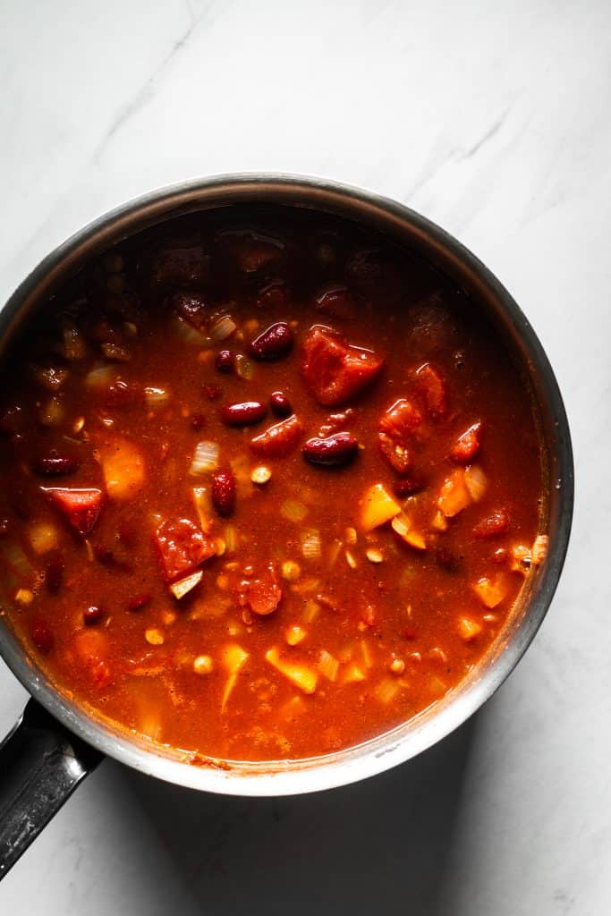 chili ingredients in a saucepan