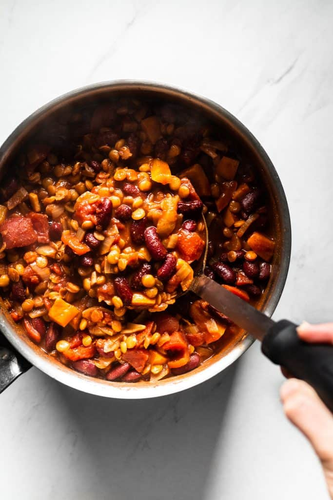 cooked pantry vegetarian chili in a saucepan