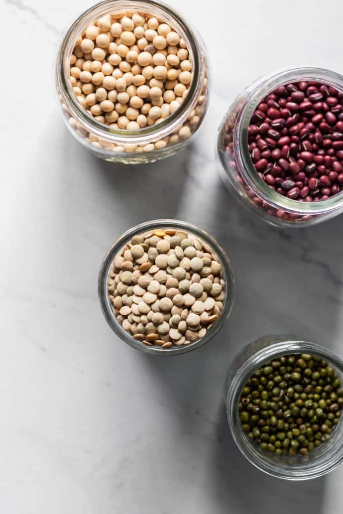 beans and lentils in jars from the top