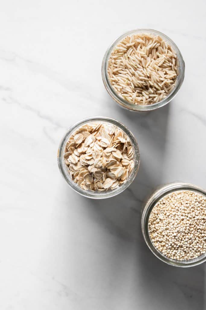 grains in jars from the top
