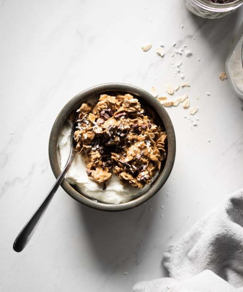 granola power bowl from the top