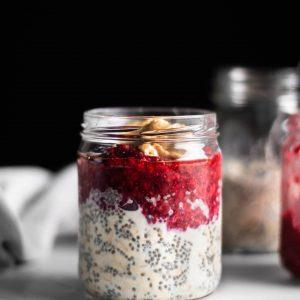 peanut butter & jelly overnight oats in a jar