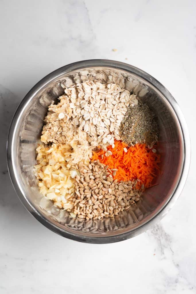 carrots, seeds, oats in a bowl