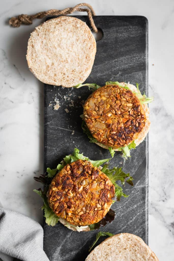 chickpea burgers opened from the top
