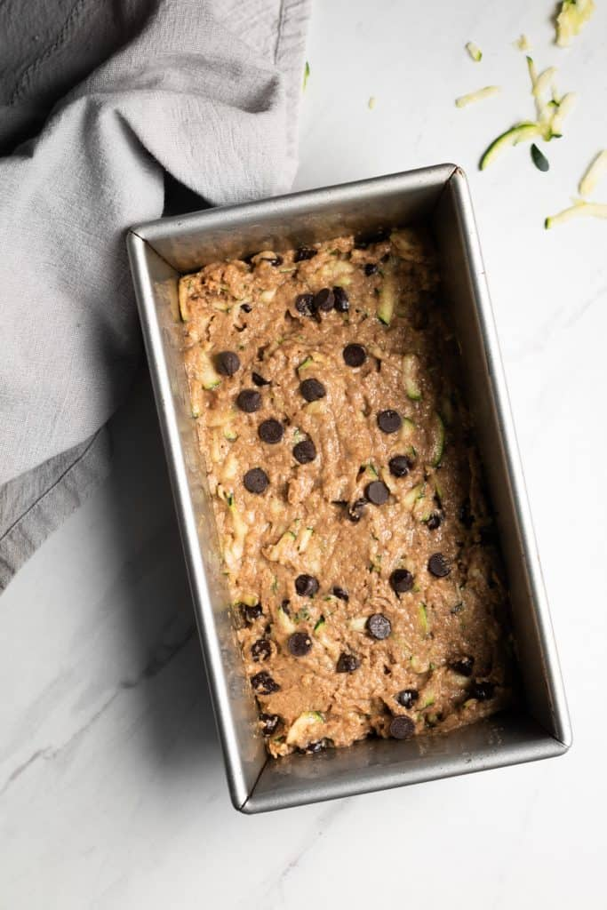 chocolate chip zucchini bread unbaked in a pan