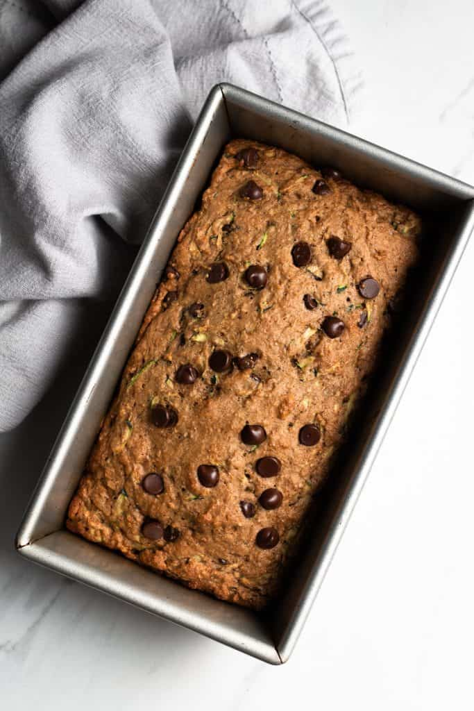 chocolate chip zucchini bread baked in a pan