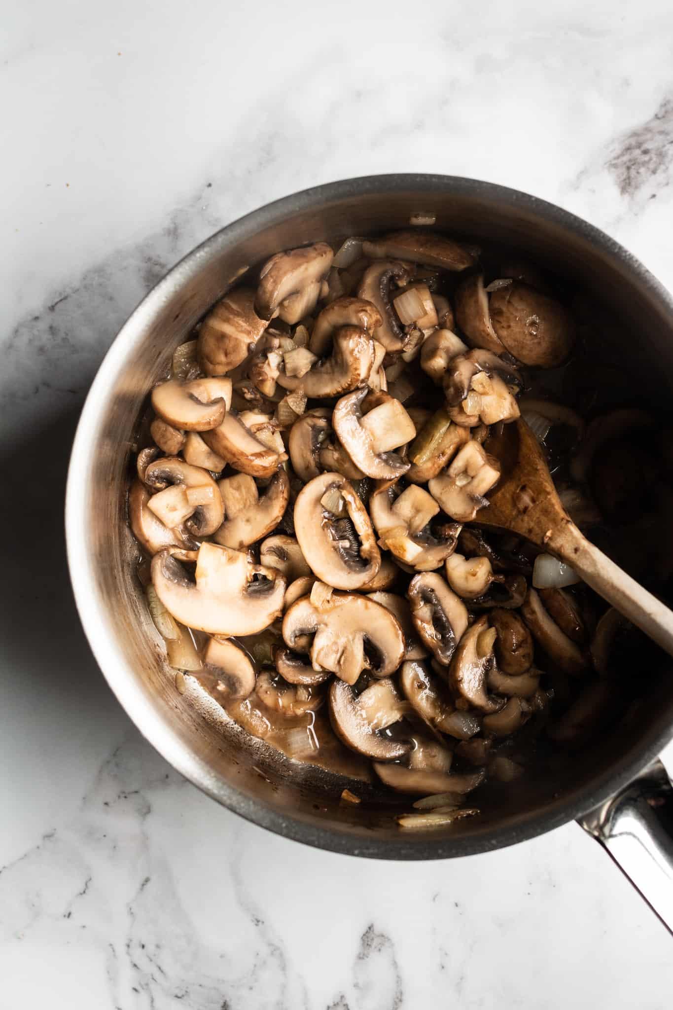 mushrooms cooked in a saucepan