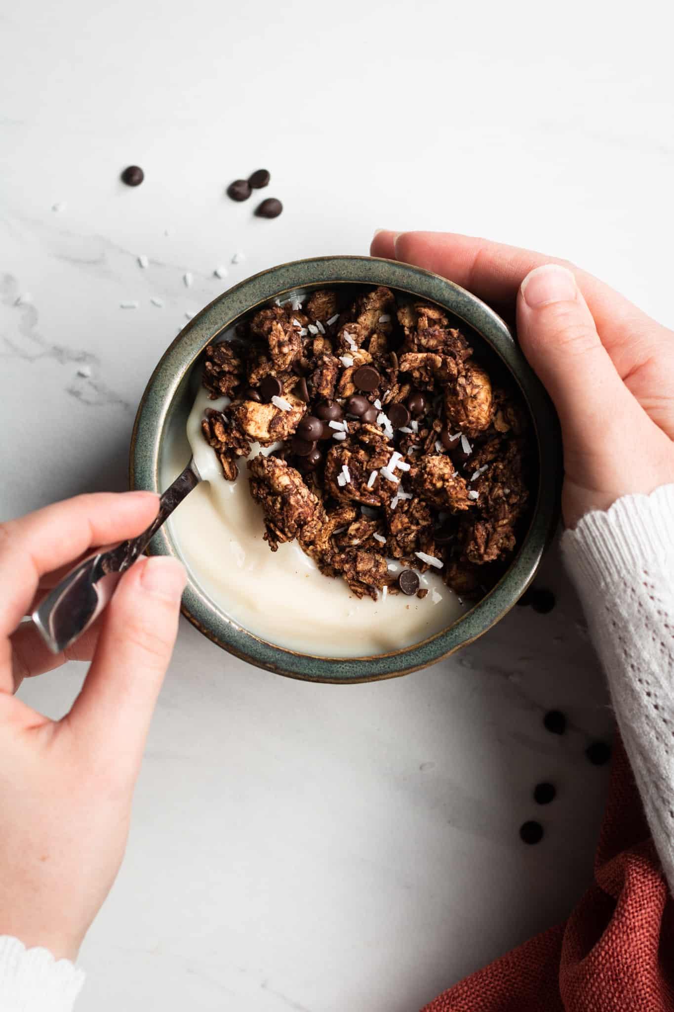 hand holding a bowl of granola with yogurt