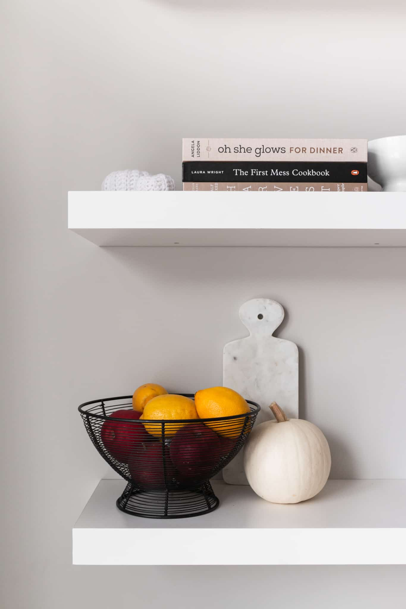 closeup of minimalist vegan shelves