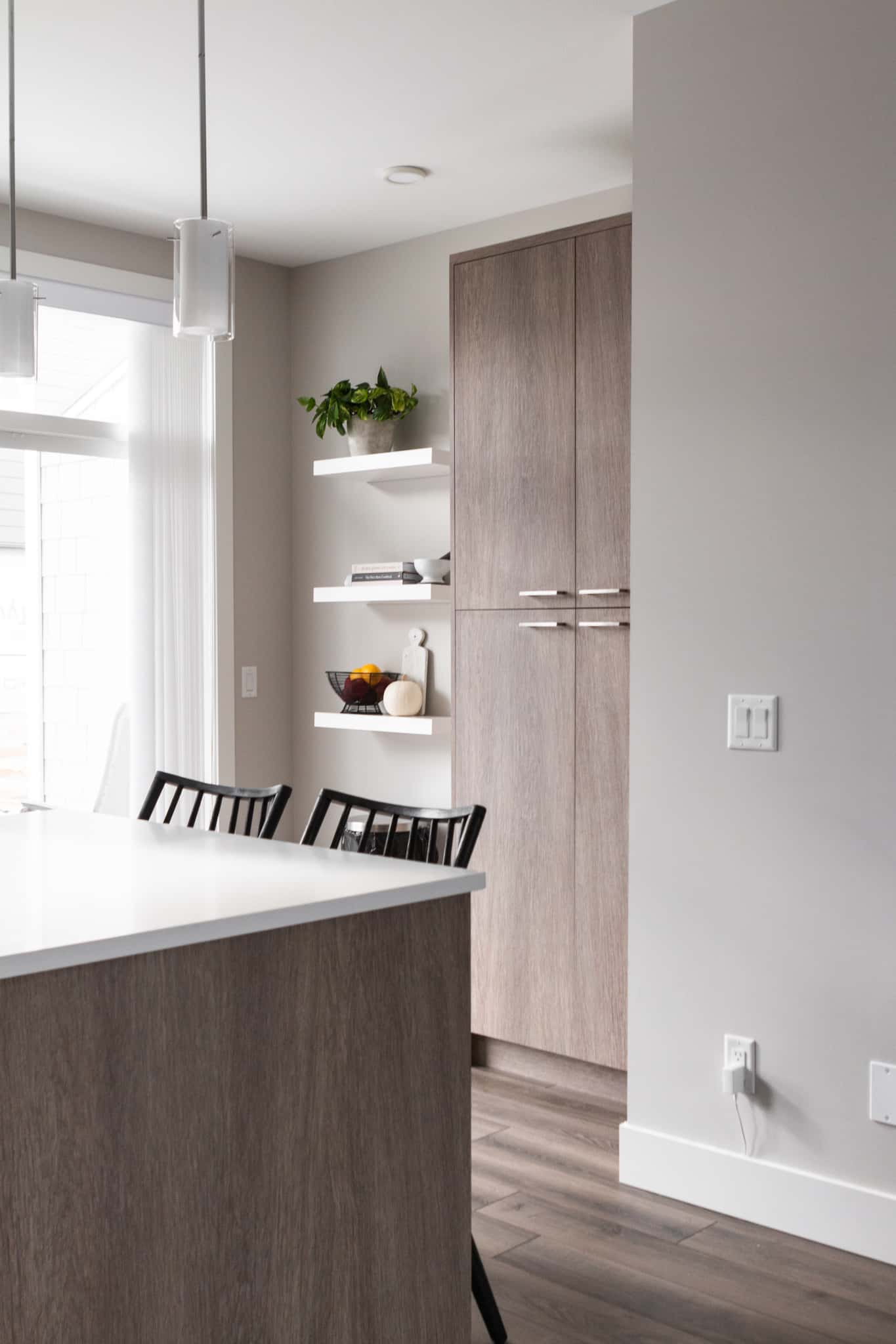 pantry and floating shelves