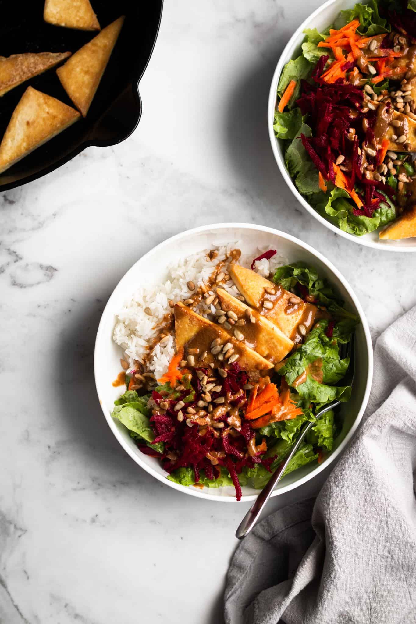 cozy winter salad in bowls