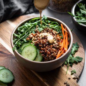 lentil quinoa salad in a bowl